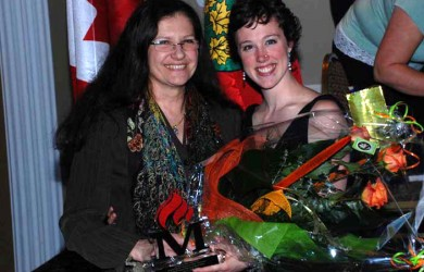 Coach Danuta Smiechowski & Erika-Leigh Stirton at Mississauga Hall of Fame Inductee